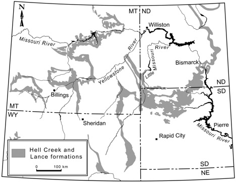 Map of Hell Creek and Lance Formations