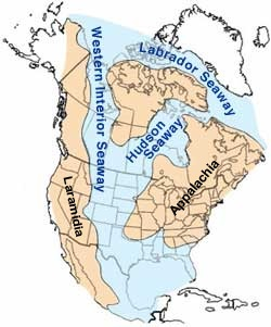 Cretaceous North America showing the Western Interior Seaway